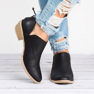 0ce1005e0eff Shoes - Black Zippered Back Cutout Side Booties